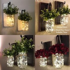 Rustic Home Decor Home & Living Set of 2 Hanging M. Rustic Home Decor Home & Living Set of 2 Hanging Mason Jar Mason Jar Sconce, Hanging Mason Jars, Mason Jar With Lights, Mason Jar Lanterns, Rustic Mason Jars, Rustic Lanterns, Mason Jar Lighting, Home Decor Sets, Diy Home Decor
