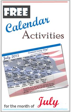 Free July Activities Calendar, we do a new calendar every month decorated for the season!