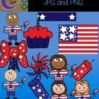 Fourth of July Clip Art   This is a fun set of   13 color images (PNG and JPG) to use in your classroom and teacher resource files that you sell an...