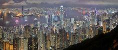 Hong Kong Night Skyline by Robin Sprong.