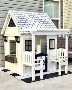 5807 B Waiting for the warmer weather to stay to build a platform & do landscape around it for its permanent spot in the yard! Backyard Playhouse, Build A Playhouse, Backyard Playground, Backyard For Kids, Garden Kids, Playground Ideas, Playhouse Interior, Garden Bar, Backyard Ideas