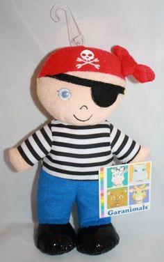 """Garanimals pirate doll plush stuffed boy toy 8"""" terry cloth foam bead soft lovey"""