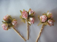 Tiny Paper Roses on  Goldplated Bobby Pins by theduchesscollection