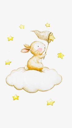 Capture The Rabbit Stars – Scrapbooking-Bilder für Kindergärten – Hase Bunny Drawing, Bunny Art, Bunny Nursery, Nursery Art, Scrapbooking Image, Cartoon Net, Fotografie Portraits, Lapin Art, Yellow Cloud