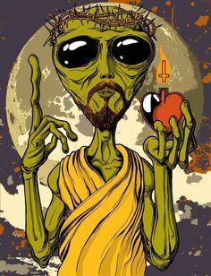 i-was-probed-by-aliens: Jesus was an Alien. Trippy Alien, Alien Art, Arte Dope, Dope Art, Alien Painting, Arte Do Hip Hop, Digital Foto, Alien Aesthetic, Alien Drawings