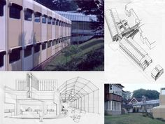 Architect - James Stirling.  Project -training centre for the Olivetti school.  Location- Haslemere, Surrey, UK.  Date- 1969