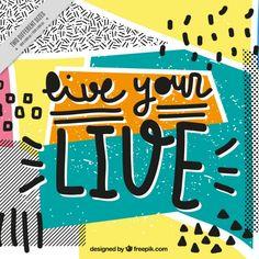 Colorido fondo memphis con mensaje positivo Vector Gratis
