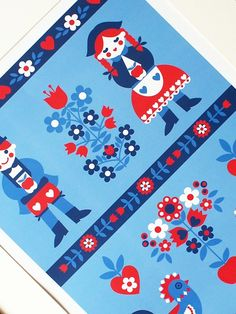 red and blue, scandinavian print