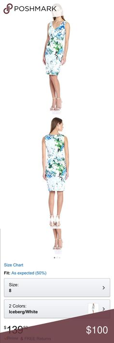 Calvin Klein Women's sheath printed dress 👗 NWT Model # M6CBU903.    Sleeveless floral printed v - neck sheath dress   Product Features:   Knee-length sheath dress in floral patterning featuring V-neckline and empire seaming  Back zipper closure Calvin Klein Dresses