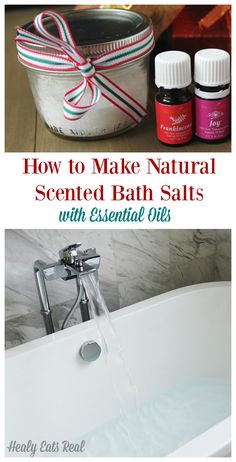 How to Make DIY Natural Scented Bath Salts @ Healy Eats Real. This would make a great easy and inexpensive homemade gift for christmas, holidays or birthdays!