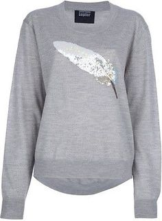 MARKUS LUPFER SWEATER! :) SEQUIN FEATHER SWEATER! :) Brand New Size Large