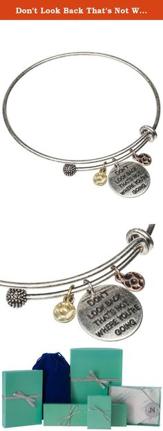 Don't Look Back That's Not Where You're Going Inspirational Adjustable Charm Antique Brushed Bangle. An elegant arrangement of three charms in a brushed finish adjustable bangle bracelet. The centre charm consist of Don't look back that's not where you're going etched into the metal. Jewelry Nexus is dedicated to introducing jewelry that fits the lifestyle of today's woman. Quality product and first-class customer service have contributed to our reputation. Jewelry Care Instructions…