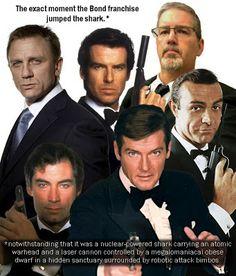 The Many Faces of James Bond: Daniel Craig, Timothy Dalton, Pierce Brosnan, Roger Moore and Sean Connery. Cinema Tv, Films Cinema, Roger Moore, Bond Girls, Daniel Craig, Estilo James Bond, Apocalypse, Service Secret, George Lazenby