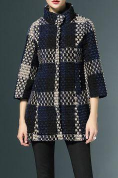LORCHAREA - Snap Buuton Checked Woolen Coat