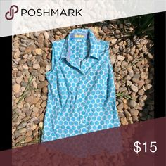 Baby Blue Poka Dot Shirt Has been worn but is a perfect shirt to wear to almost any casual occasion! Boden Tops Button Down Shirts