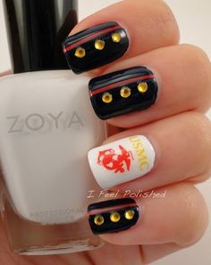 USMC Nails for the ball...I would just have a red nail with the EGA on my ring finger and the rest polished navy blue.