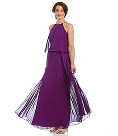 Joanna Chen Chiffon Pleated Popover Gown #Dillards #JoannaChenNY