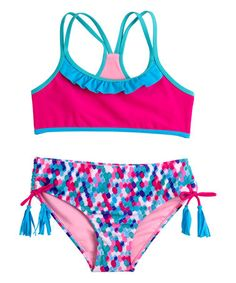 This Pink Ruffle-Accent Bikini - Girls is perfect! #zulilyfinds
