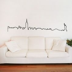 I WANT WANT FOR UPSTAIRS blk light room... NYC Manhattan Skyline Decal Wall Sticker.