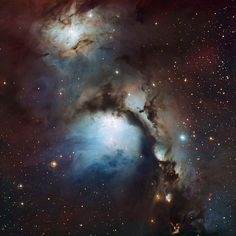 This image of the reflection nebula Messier 78 in Orion was captured using the Wide Field Imager camera on the MPG/ESO 2.2-metre telescope at the La Silla Observatory, Chile. This colour picture was created from many monochrome exposures taken through blue, yellow/green and red filters, supplemented by exposures through a filter that isolates light from glowing hydrogen gas.