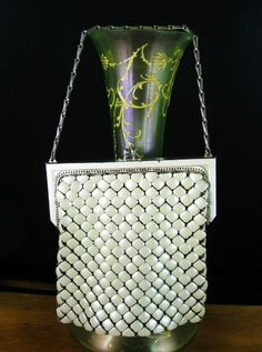 Whiting and Davis enamel mesh purse, 1920s