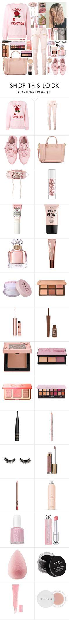 """Pink of Me"" by girlygirlprincess ❤ liked on Polyvore featuring Ashish, Balmain, Puma, Guerlain, Too Faced Cosmetics, NYX, Lumi, Lancer Dermatology, Charlotte Tilbury and Rimmel"