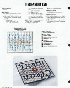 Dishwasher Magnet Cross Stitching, Cross Stitch Embroidery, Cross Stitch Patterns, Dishwasher Magnet, Refrigerator Magnets, Plastic Canvas Crafts, Plastic Canvas Patterns, Sewing Art, Sewing Crafts