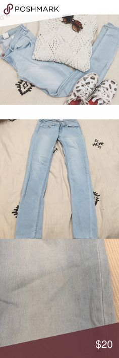 H&M super skinny low waist light wash jeans Really stretchy and comfy! Worn a few times only. Really low waist and these stretch to fit your curves. Very small stain on the front as pictured but is barely noticeable. Size 29 in H&M but they always run small. I am normally a 27 H&M Jeans Skinny