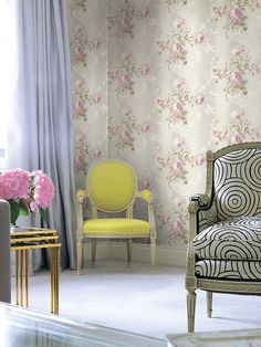 Annabelle Collection wallpaper by KT Exclusive, a German company. More info at www. Best ideas for interior design, high quality wall coverings and accessories. Chic Wallpaper, Cool Rooms, Home Accessories, Accent Chairs, Room Decor, Curtains, Interior Design, Bedroom, Retro