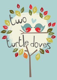 'Two Turtle Doves' Christmas card design © Victoria Oatway