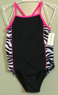 712957493390c6 Bobbie Brooks Girl's Zebra One Piece Bathing Suit Size XS 4-5 NWT  #bobiebrooks #Swimsuit