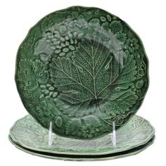 Antique Till Majolica Grape Leaf Plates : EBTH
