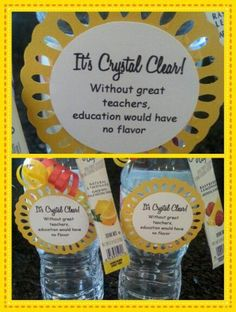 employee appreciation ideas Teacher appreciation treat - Crystal light with a bottle of water Staff Gifts, Volunteer Gifts, Employee Appreciation Gifts, Teacher Appreciation Week, Teacher Thank You, Thank You Gifts, Teacher Morale, Staff Morale, Teachers Week