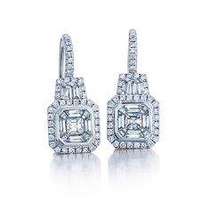 18 karat white gold assher cut diamond earrings
