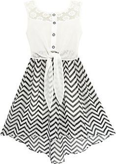 Sunny Fashion Girls Dress Lace To Chiffon Striped Black White Tied Waist - http://www.darrenblogs.com/2017/02/sunny-fashion-girls-dress-lace-to-chiffon-striped-black-white-tied-waist/