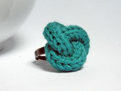 Ultramarine green knitted and knotted wool yarn ring, yarn jewelry, fiber jewelry, nautical knot..