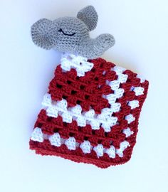 Crimson and White Elephant Lovey Security by LoopyChicCrochet