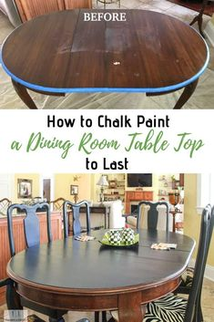 How to Chalk Paint a Table Top to Last. The best sealer or top coat for a dining room table top. room table makeover How to Chalk Paint a Table Top to Last Painted Dining Room Table, Painted Table Tops, Dinning Room Tables, A Table, Painting Dining Tables, Chalk Paint Table, Chalk Paint Kitchen, Sealing Chalk Paint, Chalk Painted Furniture