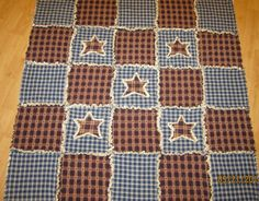Handmade Rag Quilt Homespun country/primitive burgundy, creams and blues
