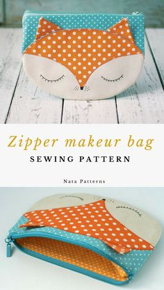 Bag Patterns To Sew, Sewing Patterns Free, Sewing Tutorials, Sewing Projects, Fox Purse, Fox Bag, Makeup Bag Pattern, Cute Baby Gifts, Diy Tote Bag