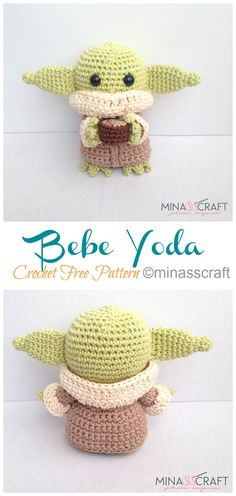 8 Amigurumi Yoda Crochet Patterns – Crochet & Knitting Elefant 10 Ami… – Awesome Knitting Ideas and Newest Knitting Models Crochet Gratis, Crochet Amigurumi Free Patterns, Crochet Toys, Free Crochet, Knitting Patterns, Knit Crochet, Blanket Patterns, Easy Knitting Projects, Crochet Projects