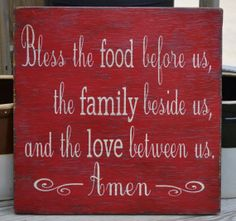 SALE Bless the food before us - Holidays - Painted Wood Sign Rustic - Wedding Gift - Thanksgiving - Dining Room Kitchen Blessing Sign