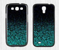 Glitter Samsung Galaxy S3 S4 Case,Mint Sparkle Glitter Galaxy S3 S4 Hard Case,cover skin Case for Galaxy S3 S4,More  - Printed Glitter Image