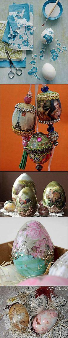 Декупаж пасхальных яиц