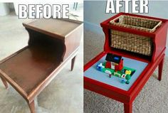 Turn an old side table into a Lego hatch for your bouncing around son. Keep him busy and the Legos hopefully off the floor ;)