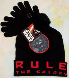 5a32d7126f6 Star Wars Boys Hat Gloves 2pc Set Pom Pom Beanie Kylo Ren Rule The Galax New