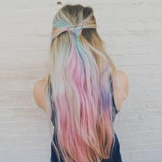 Long Flowing Pastel Rainbow Hair hair rainbow pastel hair ideas hairstyles hair…