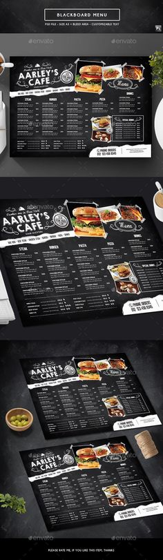 Blackboard Menu Design Template - Food Menus Print Template PSD. Download here: https://graphicriver.net/item/blackboard-menu/19305671?ref=yinkira