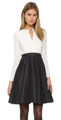 Halston Heritage Colorblock Dress with Taffeta Skirt | SHOPBOP