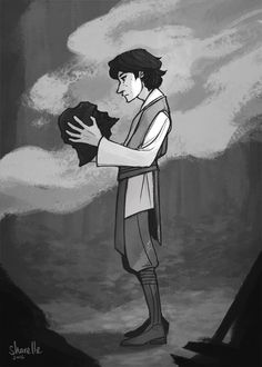 """""""It's calling to you…"""" a little sketch of young Ben Solo, because he had to have found his grandpa's helmet at some point… did Snoke suggest a roadtrip to Endor?? (it sounded like he'd been having..."""